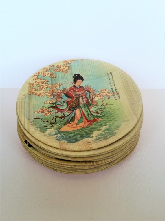 12 Chinese Woven Bamboo Plates | Historic Images, Stories + China Folklore - Mulan etc. | Vintage Asian Dim Sum | Decorative Plate