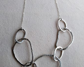 Handmade sterling silver circles necklace with silver chain