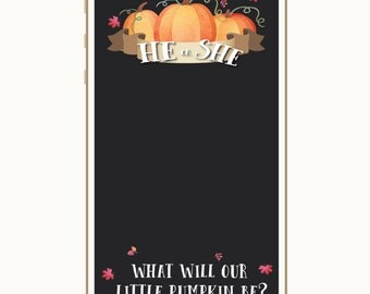 Gender Reveal Snapchat Geofilter, He or She What will our little pumpkin be, Fall gender reveal, Fall Baby shower, filter, snapchat filter