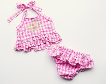 Girls Monogrammed Pink Gingham Swimsuit, girls swimwear, girls summer