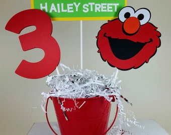 Elmo Centerpiece, Elmo Birthday, Personalized Elmo, Sesame Street Birthday, Elmo Decorations