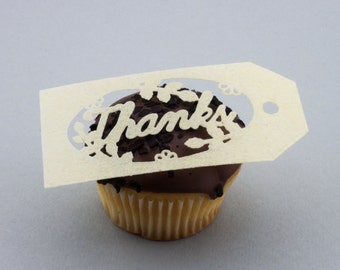 Thanks cupcake cake toppers edible cake decoration or gift tag