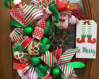 Red and Green Christmas Wreath - Christmas Elf Wreath - Christmas Ribbon Wreath - Whimsical Christmas Wreath -  Christmas Grapevine Wreath