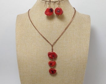 Long red coral necklace, red coral. earrings, set, red coral pendant, natural genuine corals. copper red corals long chain
