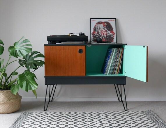 Mid Century Teak Vinyl Lp Record Cabinet Upcycled Amp Painted