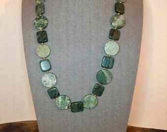 Green Jasper, Marble, & Gold Beaded Necklace 23""