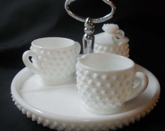 Fenton (unmarked) White Hobnail Condiment Set  - Sugar, Creamer and Jam jar with lid and spoon