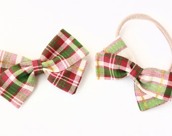 Christmas Plaid Hair Bow - Hair Bows for Girls - Hair Clips and headbands