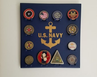Military Challenge Coin Display Rack - Navy - Wall-mounted
