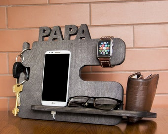 Personalized black personalized docking station - iPhone, Samsung, LG charging stand, gift idea - Mens charging dock