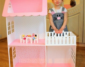 Hand Made Wooden Dolls house with furniture, Barbie doll house, Dollhouse furniture, Nursery decor, Present for girl, Plywood house, House