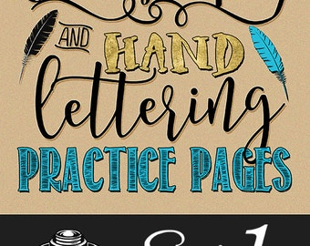 Modern Calligraphy and Lettering Practice Worksheets (Set 1) | A to Z Uppercase & Lowercase Letters | Digital Download | Various Styles