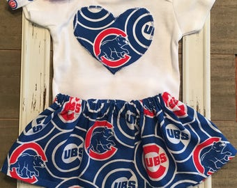 Chicago Cubs Outfit, Chicago Cubs Baby Skirt, Chicago Cubs Baby Outfit, Cubs Baby Girl