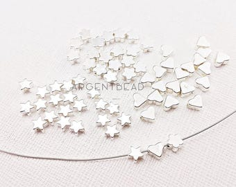 20pc 5mm tiny star beads, smooth/plain, shiny silver tone,Shiny silver Star Beads,Star Beads, Center Hole Star Beads, Solid , Star Jewelry