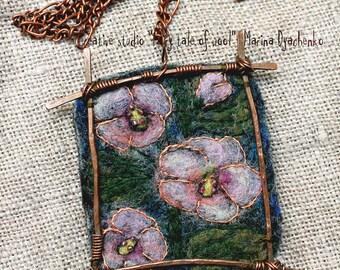 Felt pendant, Felt necklace, Felt accessory, The landscape pendant Hollyhock, Boho style, Hand-made