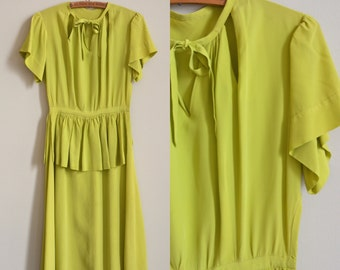 1940s Dress / Chartreuse Last Word Dress / Vintage 40s Cut Out Green Dress / Extra Small to Small / XS S