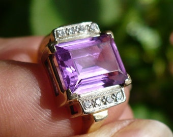 Vintage Rectangular Faceted Pink Topaz with Diamond border 14K gold ring, size 9.5