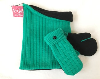 Cashmere, Cashmere Neck warmer and mitten set; Upcycled cashmere, Cashmere Cowl, Mitten set, Green and Black, Cashmere Scarf