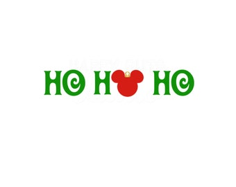 Ho Ho Ho with Mickey Mouse Ornament / Mickey Minnie Mouse Christmas Matching Family Disney Iron On Decal Vinyl 4 Shirt 178