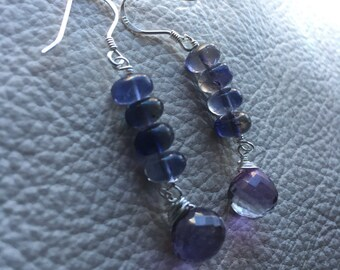Iolite and Mystic Quartz Drop Earrings