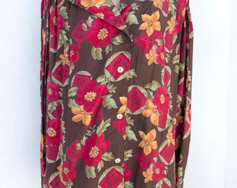 Flowers Vintage blouse-Vintage shirt years 80-Vintage clothing-Made in Italy