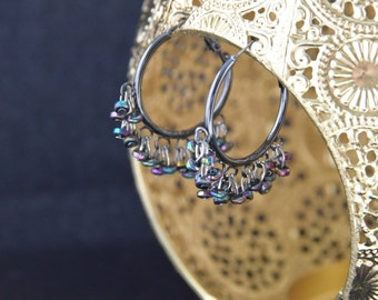 Iridescent Beaded Hoops
