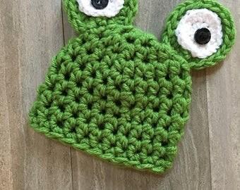 Crochet Frog Hat, Baby Hat, Photo Prop