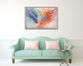 Abstract Art Print Large Colorful Wall Art, Giclee Canvas Art, Large Art, Modern Art, Office Art Canvas Print, Blue Orange Art, CH prints