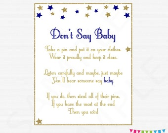 Donu0027t Say Baby, Twinkle Twinkle Little Star Baby Shower, Navy Gold,
