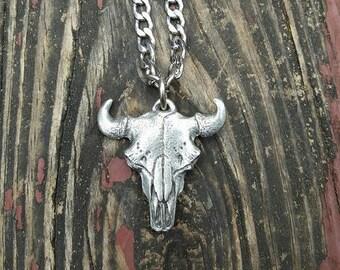 Buffalo Skull Pendant Necklace