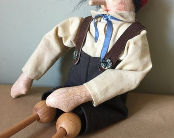 Wooden Pinocchio Doll Folk Art Doll
