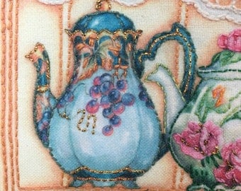 Completed Bucilla Teapots and Shelf Embroidery Kit