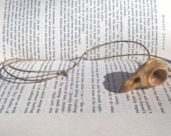 Polymer clay bird skull necklace