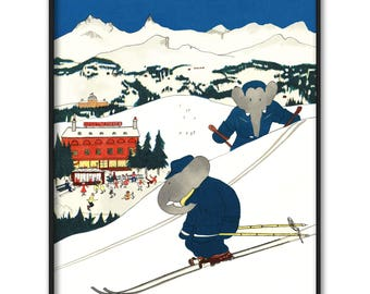 """Baby Nursery Printable Download, Sports Print (Boys Room Decor, Instant Downloadable Girls Wall Art) --- Babar the Elephant """"Skiing"""""""