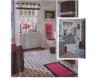 Uncut Simplicity 8107, 90s Sewing Pattern, Home Decor Pattern Curtains Pattern Valances, Shower Curtains, Towel Holder, Table Skirt