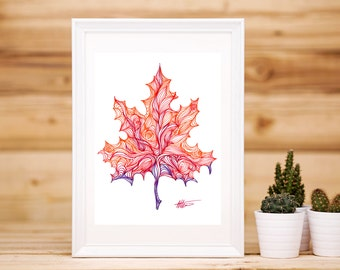 Hand-drawn Maple Leaf