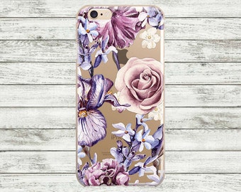 iPhone 7 Case Flowers transparent lilac iPhone 7 Plus Case, iPhone 6s/6s Plus Case, iPhone 5s case. iPhone case Floral clear.