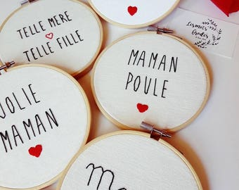MOM embroidery on embroidery hoop