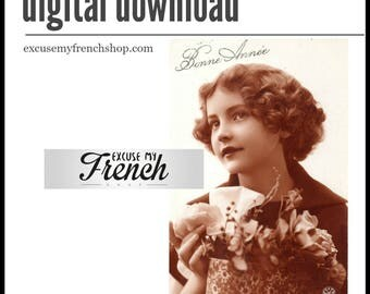 Digital Portrait of Little Girl in Sepia Photograph *  French Vintage Postcard
