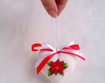 Christmas heart decoration Xmas tree ornaments Christmas gift for mother coworkers family Fabric Christmas ornaments home decor Embroidery