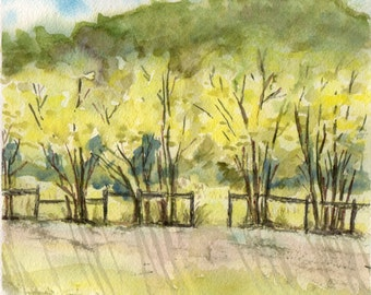 Fence with Trees and Shadows, Watercolour Painting, Original Artwork