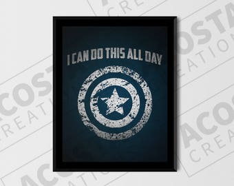 Captain America: I Can Do This All Day, digital print poster, shield, super hero, Comic Book, Geek Gift, Comic Nerd, Marvel Comics, custom