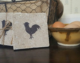 Fixer Upper Decor, Farmhouse Decor, Chicken Coasters, Country Home Decor, Country Decor, Coasters, Chicken Gift, Rooster Coasters, Farm Gift