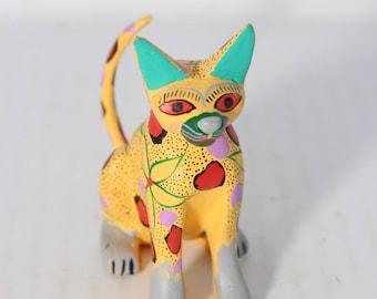 Wood Cat Art Figurine Hand Painted Colorful Feline by Jose Olivero Perez