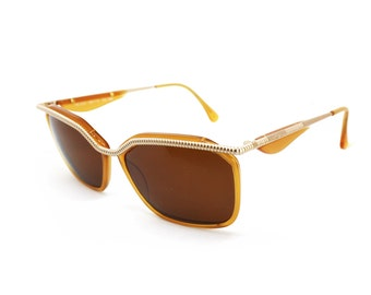Trussardi ts 010 vintage 1980s sunglasses honey caramel brown adorned frame twisted rope // NOS spectacles