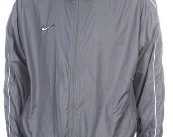 SALE Vintage 90s Nike Swoosh Bomber WIndbreacker Jacket Gray Size L