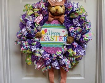 Bunny Wreath, Easter Mesh Wreath, Easter Egg Mesh Wreath, Easter Door Hanger, Easter Decor, Spring Wreath, Spring Mesh Wreath, Easter Wreath