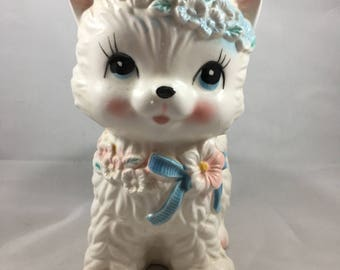 Vintage Mid Century Kitten With a Flower Crown and Rosy Cheeks Planter