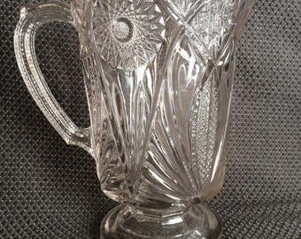 Antique EAPG Medallion Sunburst Fan pattern pitcher Early American pressed glass water jug