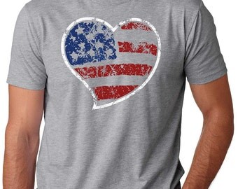 USA Flag T-Shirt Stars And Stipes T-Shirt America Tee Patriotic  T-Shirt Heart